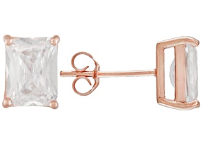 1.28ctw Cubic Zirconia 18k Rose Gold Over Sterling Silver Stud Earrings