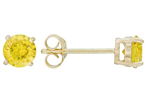 .56ctw Yellow Cubic Zirconia 18k Yellow Gold Over Sterling Silver Stud Earrings