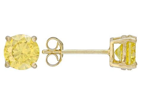 2.00ctw Yellow Cubic Zirconia 18k Yellow Gold Over Sterling Silver Stud Earrings