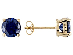 1.27ctw Blue Cubic Zirconia 18k Yellow Gold Over Sterling Silver Stud Earrings