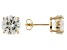 1.74ctw Cubic Zirconia 18k Yellow Gold Over Sterling Silver Round Stud Earrings