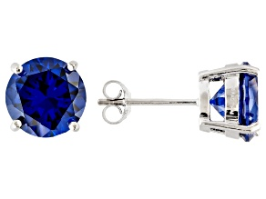 1.74ctw Blue Cubic Zirconia Rhodium Over Sterling Silver Round Stud Earrings