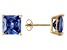 1.24ctw Blue Cubic Zirconia 18k Yellow Gold Over Sterling Silver Stud Earrings