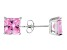 1.02ctw Pink Cubic Zirconia Sterling Silver Princess Stud Earrings