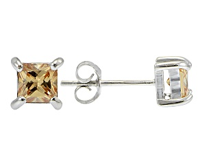 .73ctw Champagne Cubic Zirconia Sterling Silver Princess Stud Earrings