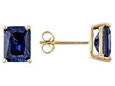 1.28ctw Blue Cubic Zirconia 18k Yellow Gold Over Sterling Silver Stud Earrings