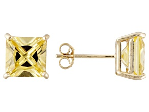 1.24ctw Yellow Cubic Zirconia 18k Yellow Gold Over Sterling Silver Stud Earrings