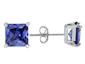 1.02ctw Blue Cubic Zirconia Sterling Silver Princess Stud Earrings