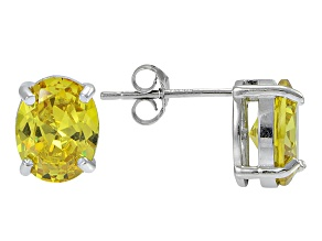 1.22ctw Yellow Cubic Zirconia Rhodium Over Sterling Silver Oval Stud Earrings