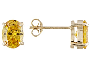 1.28ctw Yellow Cubic Zirconia 18k Yellow Gold Over Sterling Silver Stud Earrings