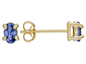 .70ctw Blue Cubic Zirconia 18k Yellow Gold Over Sterling Silver Stud Earrings