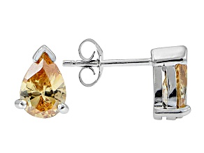 .93ctw Champagne Cubic Zirconia Rhodium Over Sterling Silver Stud Earrings