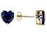 .90ctw Blue Cubic Zirconia 18k Yellow Gold Over Sterling Silver Stud Earrings