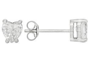 .81ctw Cubic Zirconia Rhodium Over Sterling Silver Heart Stud Earrings