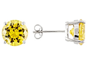 1.74ctw Yellow Cubic Zirconia Sterling Silver Round Stud Earrings
