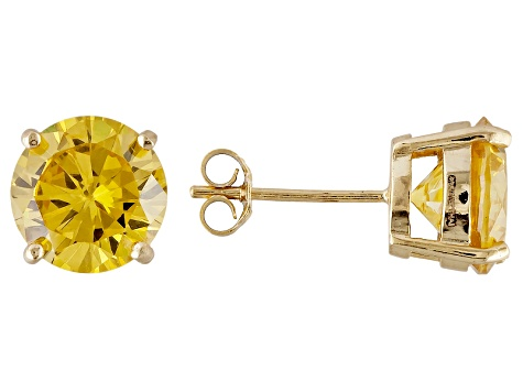 1.74ctw Yellow Cubic Zirconia 18k Yellow Gold Over Sterling Silver Stud Earrings