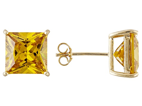 1.70ctw Yellow Cubic Zirconia 18k Yellow Gold Over Sterling Silver Stud Earrings