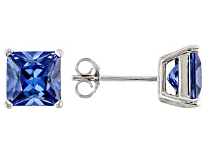 1.28ctw Blue Cubic Zirconia Sterling Silver Princess Stud Earrings