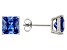 1.28ctw Blue Cubic Zirconia Sterling Silver Princess Stud Earrings