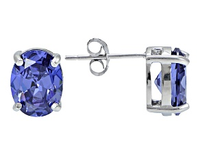 1.22ctw Blue Cubic Zirconia Rhodium Over Sterling Silver Oval Stud Earrings