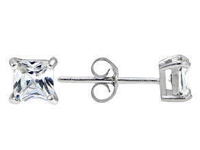 .73ctw Cubic Zirconia Rhodium Over Sterling Silver Princess Stud Earrings
