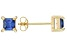 .73ctw Blue Cubic Zirconia 18k Yellow Gold Over Sterling Silver Stud Earrings