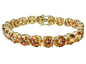 Bella Luce ® 68.00ctw Champagne Diamond Simulant 18k Yellow Gold Over Sterling Silver Bracelet