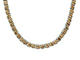 64.78ctw Champagne Diamond Simulant Sterling Silver Tennis Necklace 17