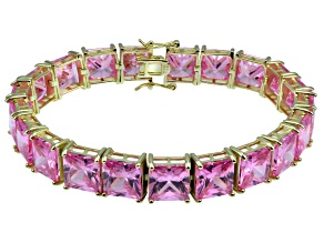 Bella Luce ® 92.00ctw Pink Diamond Simulant 18k Yellow Gold Over Sterling Silver Bracelet