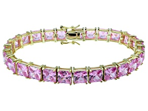 Bella Luce ® 49.90ctw Pink Diamond Simulant 18k Yellow Gold Over Sterling Silver Bracelet