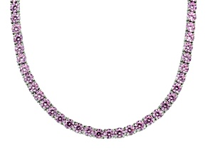 Bella Luce ® 64.78ctw Pink Diamond Simulant Sterling Silver Tennis Necklace 17