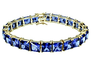 Bella Luce ® 69.00ctw Tanzanite Simulant 18k Yellow Gold Over Sterling Silver Bracelet