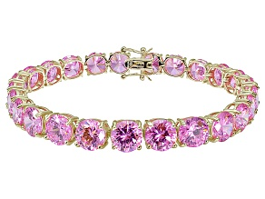 Bella Luce ® 48.60ctw Pink Diamond Simulant 18k Yellow Gold Over Sterling Silver Bracelet
