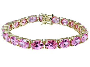 Bella Luce ® 38.90ctw Pink Diamond Simulant 18k Yellow Gold Over Sterling Silver Bracelet
