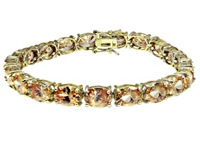 Bella Luce ® 38.90ctw Champagne Diamond Simulant 18k Yellow Gold Over Sterling Silver Bracelet