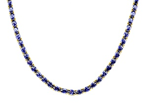 Blue Cubic Zirconia 18k Yellow Gold Over Sterling Silver Tennis Necklace 50.37ctw