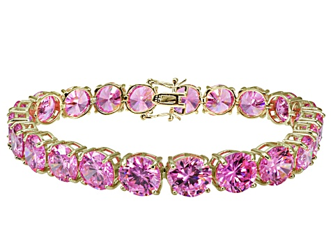 Bella Luce ® 68.00ctw Pink Diamond Simulant 18k Yellow Gold Over Sterling Silver Bracelet