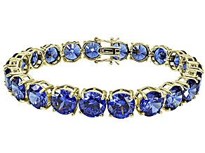 Bella Luce ® 68.00ctw Tanzanite Simulant 18k Yellow Gold Over Sterling Silver Bracelet