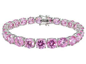 Bella Luce ® 48.60ctw Pink Diamond Simulant Sterling Silver Bracelet 7.25