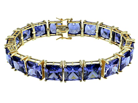 Bella Luce ® 113.00ctw Tanzanite Simulant 18k Yellow Gold Over Sterling Silver Bracelet