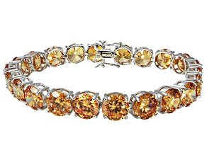 Bella Luce ® 68.00ctw Champagne Diamond Simulant Sterling Silver Bracelet 7.25