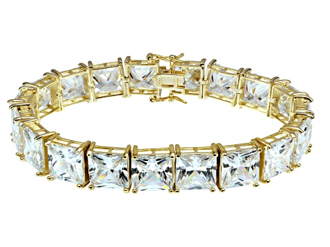 Bella Luce ® 113.00ctw White Diamond Simulant 18k Yellow Gold Over Sterling Silver Bracelet