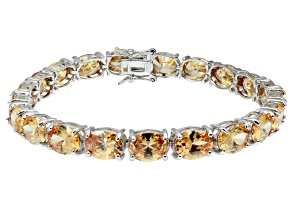 Bella Luce ® 38.90ctw Champage Diamond Simulant Sterling Silver Bracelet 7.25