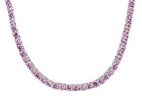 Bella Luce ® 43.00ctw Pink Diamond Simulant Sterling Silver Tennis Necklace 17