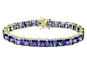 Bella Luce ® 49.90ctw Tanzanite Simulant 18k Yellow Gold Over Sterling Silver Bracelet