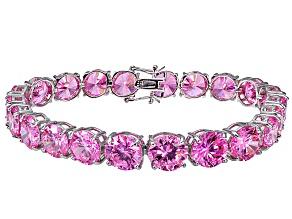 Bella Luce ® 68.00ctw Pink Diamond Simulant Sterling Silver Bracelet 7.25