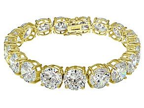 Bella Luce ® 84.47ctw White Diamond Simulant 18k Yellow Gold Over Sterling Silver Bracelet