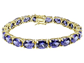 Bella Luce ® 38.90ctw Tanzanite Simulant 18k Yellow Gold Over Sterling Silver Bracelet