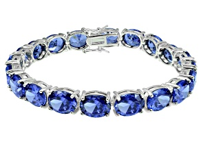 Bella Luce ® 54.00ctw Tanzanite Simulant Sterling Silver Bracelet 7.25