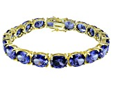 Bella Luce ® 54.00ctw Tanzanite Simulant 18k Yellow Gold Over Sterling Silver Bracelet